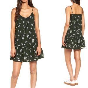 Current/Elliott Floral Green Slip Dress 0